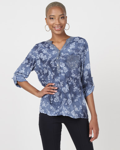 Queenspark Floral Tie Dye Roll Up Sleeve Blouse Blue