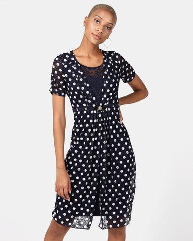 Queenspark Spot Glam Knit Dress Navy