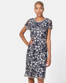 Queenspark Cornelli Mesh Embroidery Woven Dress Navy