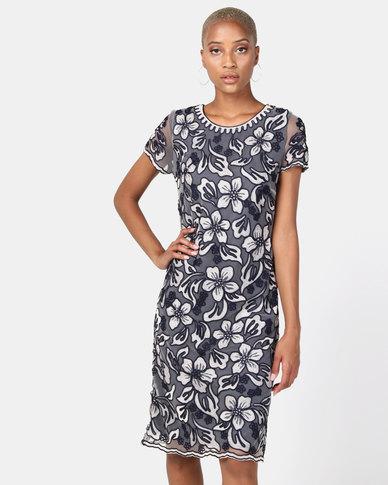 Queenspark Cornelli Mesh Embroidery Woven Dress Navy