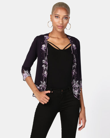 Queenspark Glam  Knit Jacket Grape