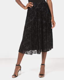 Queenspark Flocked Mesh Fit & Flare Knit Skirt Black