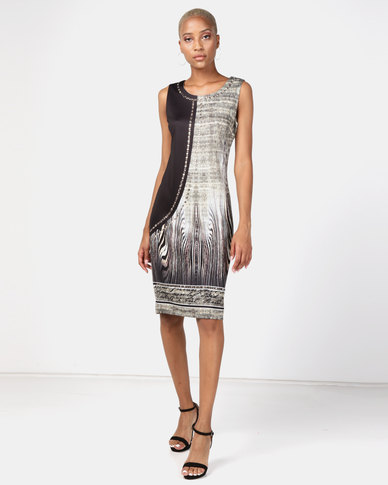 Queenspark Leopard Stalker Knit Dress Multi