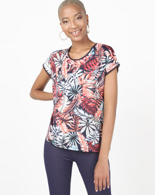 Queenspark Palm Foliage Short Sleeve Printed Knit Top Navy