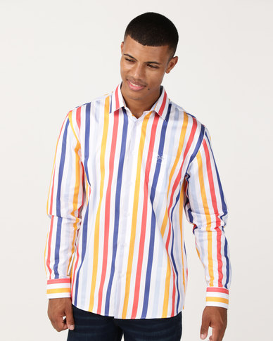 JCrew Bold Stripe Shirt Orange/Blue