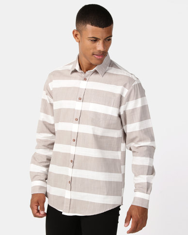 JCrew Slub Stripe Shirt Natural