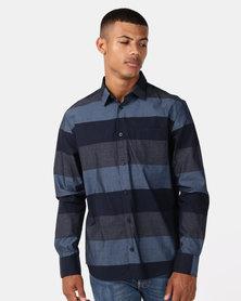 JCrew Bold Stripe Long Sleeve Shirt Navy