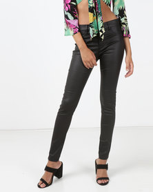 Utopia Coated Skinny Leg Jeans Black