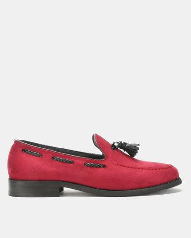 PC Tassel Moccasin Shoes Burgundy Bear