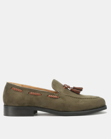 PC Tassel Moccasin Shoes Olive Bear