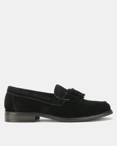 PC Suede Moccasin Shoes Black Suede