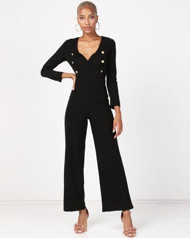 AX Paris Military Wrap Style V Neck Jumpsuit Black