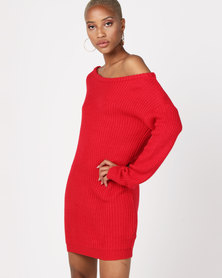 AX Paris Boatneck Longline Jumper Red