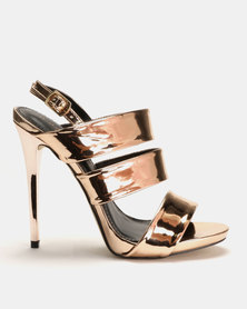 Sissy Boy Tri-Strap Heeled Sandals Rose Gold