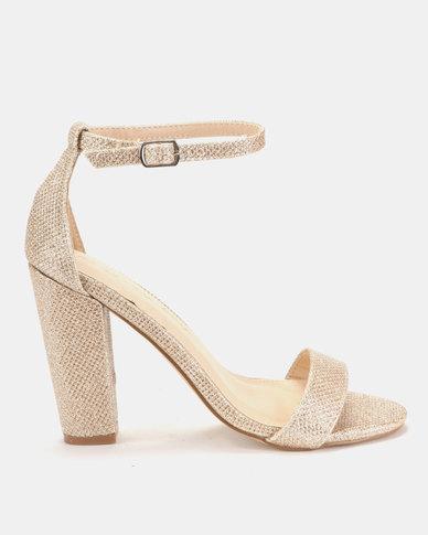 Sissy Boy Lurex Block Heel Sandals Rose Gold