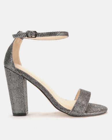 afc49deae0b Sissy Boy Lurex Block Heel Sandals Rose Pewter