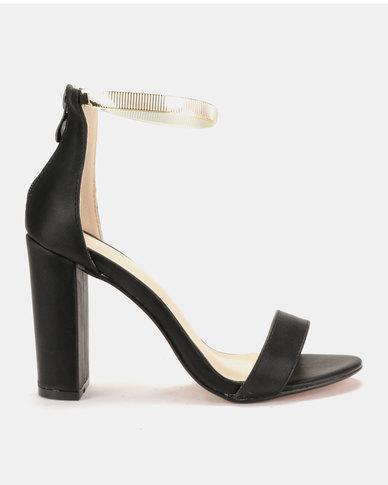 Sissy Boy Metallic Ankle Strap Block Heel Sandals Black