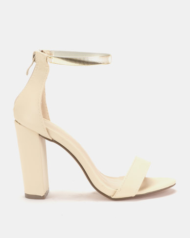 Sissy Boy Metallic Ankle Strap Block Heels Sandal Nude