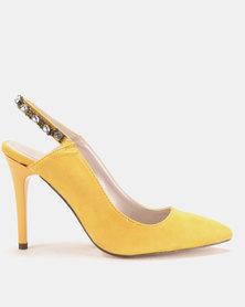 Sissy Boy Jewel Trim Slingback Court Heels Yellow