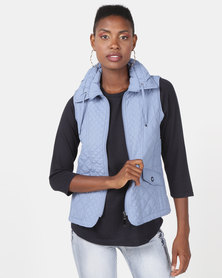 Queenspark Fancy Gilet Woven Jacket Blue