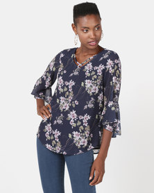 Queenspark Pretty Print Woven Blouse Navy