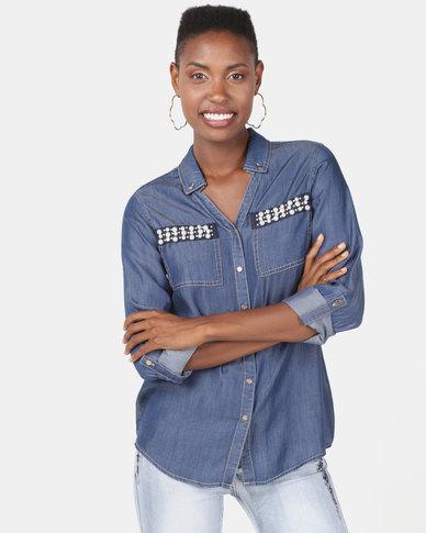 Queenspark Denim Pearl Detail Button Through Shirt Indigo