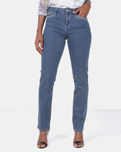 Queenspark Woven Denim Jeans Indigo