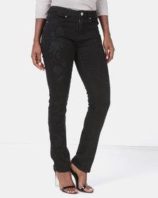 Queenspark Rose Embroidered Denim Jeans Black