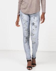 Queenspark Fancy Embellished Denim Jeans Blue
