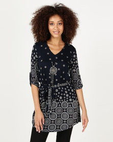 Cath Nic By Queenspark Navaho Necklace Tunic Knit Top Navy