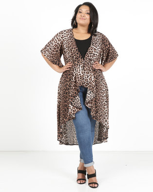 Queenspark Plus Short Sleeve Floaty Kimono Woven Jacket Black