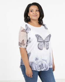 Queenspark Plus Big Butterfly Fancy Mesh Layered Knit Top White