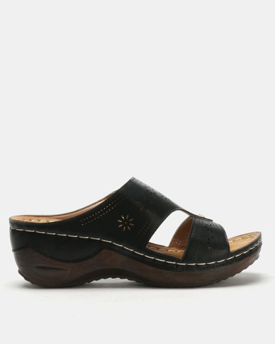Queenspark Comfort Wedge Sandals Black