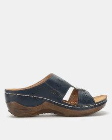 Queenspark Comfort Wedge Sandals Navy