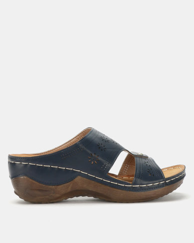 Queenspark Comfort Wedge Sandals Navy