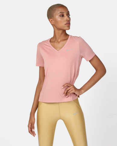 Nike Performance W Nk Miler Top V-Neck Rust Pink
