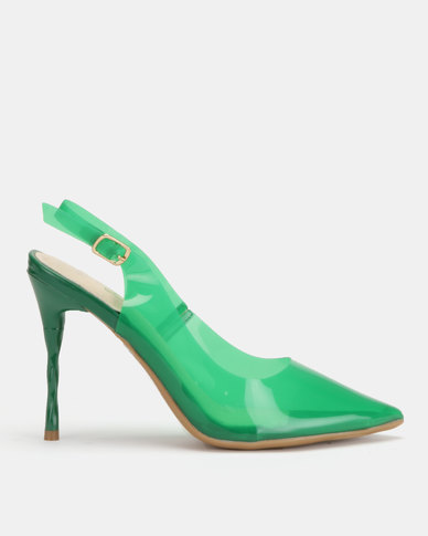 Miss Black Gaines Slingback Court Heels Green