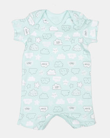 Creative Design Happy Clouds And Stars Onesie Blue