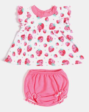 763ed3a28b Creative Design Strawberry Bloomer Set Pink