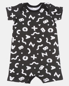Creative Design All Over Print Onesie Black