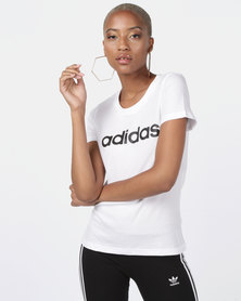 adidas Originals Essentials Linear Slim Tee White