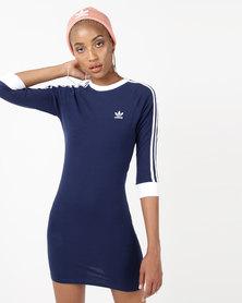 adidas Originals 3/4 Slv 3 Stripe Dress Blue
