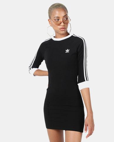 448332957c4 adidas Originals 3/4 Sleeve 3 Stripe Dress Black | Zando