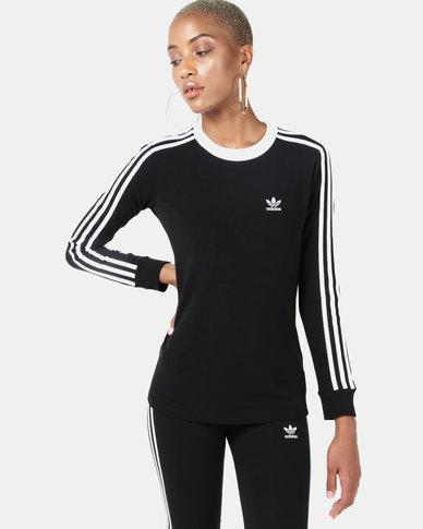 adidas Originals 3 Stripe Long Sleeve Tee Black