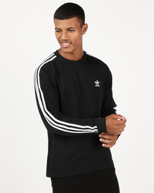 adidas Originals Mens 3 Stripe LS Tee Black