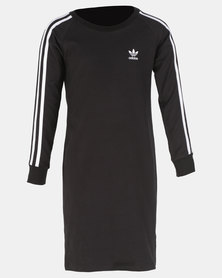 adidas Originals Girls 3 Stripes Dress Black/White