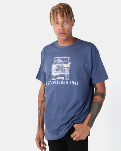 Jeep Print Tee Washed Pacific