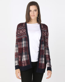 Bellfield Check Cardigan Burgundy