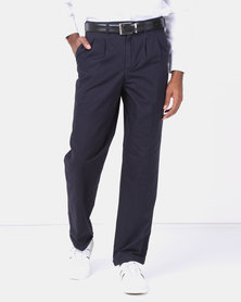 Utopia Cotton Twill Chinos With Turnup Navy