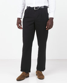 Utopia Cotton Twill Chinos With Turnup Black